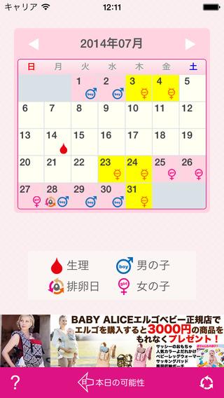 カレンダー 産み 分け